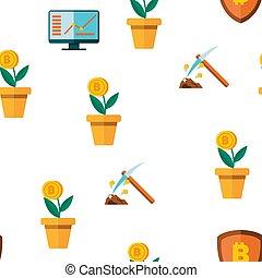 cryptocurrency, mönster, vektor, seamless, ikon
