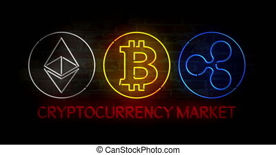 Cryptocurrency market neon - Cryptocurrency market. Bitcoin,...