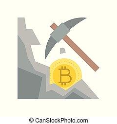 cryptocurrency, minerario, concetto, appartamento, disegno, icona