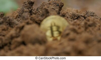 Cryptocurrency mining concept. Bitcoin mining. Coin in tne...