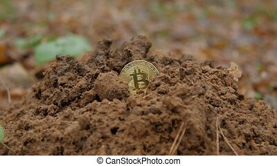 Cryptocurrency mining concept. Bitcoin mining. -...