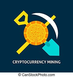 Cryptocurrency Mining Concept. Vector Illustration of...