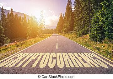cryptocurrency, montagnes, mot écrit, route
