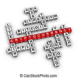 cryptocurrency, mots croisés, puzzle.
