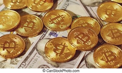 Cryptocurrency of bitcoin and dollars - Bright golden coins...