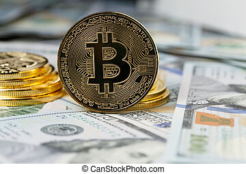 cryptocurrency, pièces., bitcoin, physique