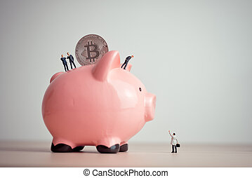 cryptocurrency, piggybank., concept, économie, bitcoin