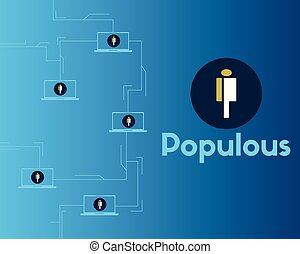 cryptocurrency, populous, blockchain, plano de fondo, ...