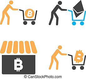 Cryptocurrency Shopping Vector Icon Set