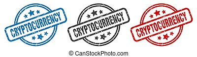 cryptocurrency stamp. cryptocurrency round isolated sign. ...