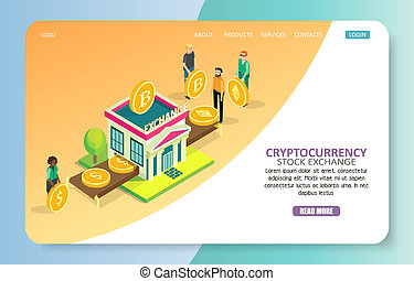 Cryptocurrency stock exchange landing page website vector...