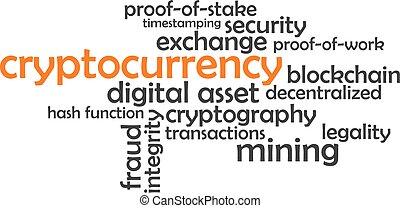 cryptocurrency, szó, -, felhő