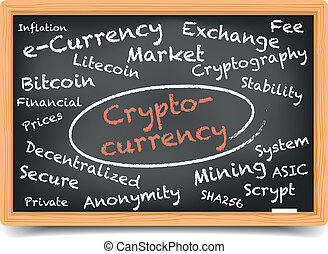 cryptocurrency, tableau noir