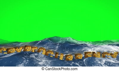 Cryptocurrency text floating in water on green screen