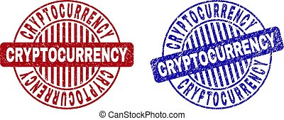 cryptocurrency, timbres, grunge, rond, textured