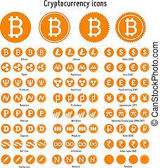 cryptocurrency, vecteur, icônes