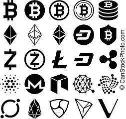 cryptocurrency, vecteur, icons., illustrations.