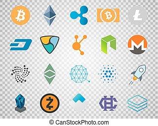 cryptocurrency, vecteur, marché, 20, blockchain, croissant, signes, apparenté, sommet, jeûne, capitalization., technologie, devises, ensemble, bitcoin, basé, crypto, icons.