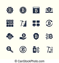 Cryptocurrency vector icon set in glyph style