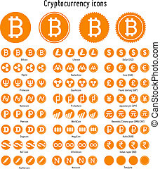 Cryptocurrency vector icons - Bitcoin and other...