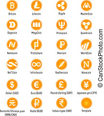 Different cryptocurrency and traditional currency vector symbols web icons