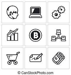 cryptocurrency, vetorial, jogo, ícones