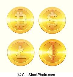 Cryptocurrencys icons set, Bitcoin, Ethereum, Litecoin and dollar, golden coins with cryptocurrency symbol, isolated on white background, vector illustration.