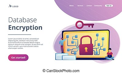 Cryptography and encryption concept landing page. - ...