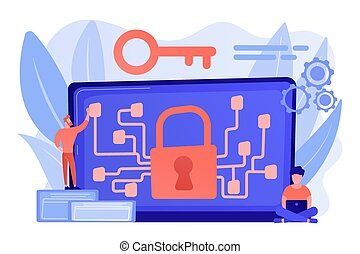 Cryptography and encryption concept vector illustration. - ...