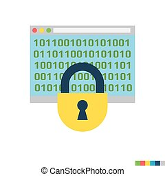 Cryptography Flat Icon - Cryptography Related Flat Vector...