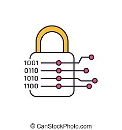 Cryptography icon, cartoon style