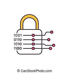 Cryptography icon, cartoon style
