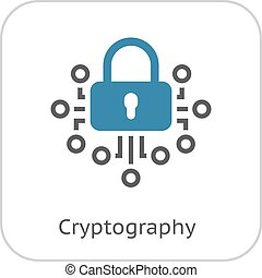 Cryptography Icon. Modern computer network technology sign....