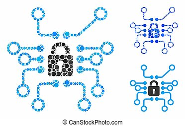 Cryptography Mosaic Icon of Circles