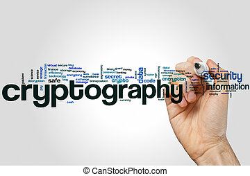 Cryptography word cloud concept