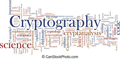 Cryptography word cloud - Word cloud concept illustration of...