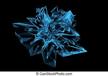 Crystal 3D rendered xray blue transparent