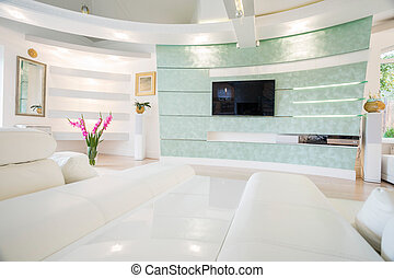 Crystal and bright tv room