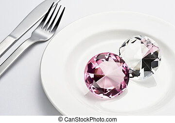 Crystal and tableware - Table setting knife fork plate and ...