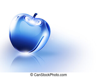Crystal Apple - crystalline blue apple on a white background