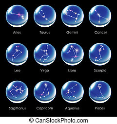 crystal ball 12 Horoscopes blue