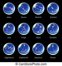 crystal ball 12 Horoscopes blue