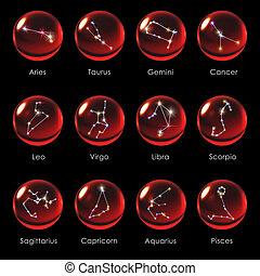 crystal ball 12 Horoscopes red