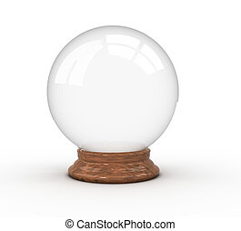 Crystal ball - 3d render illustration of a crystal ball over...