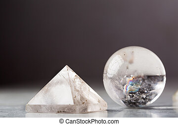 Crystal ball and crystal pyramid