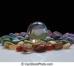 Crystal ball and healing crystals