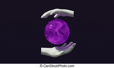 Crystal ball between two stone hands. Orbuculum shows future. Neon light in crystal sphere. Astrology, occultism, predictions. Witches and fortune-telling concept. Trendy 3d animation. 3d render.