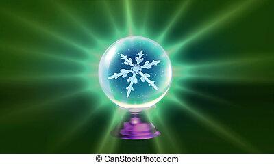 crystal ball Christmas Snowflakes green