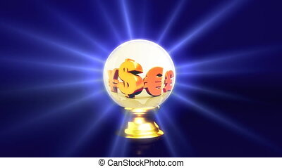 crystal ball future dollar sign - currency concept of...
