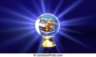 crystal ball future house - concept of house saving money
